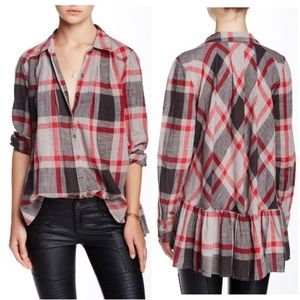 Free People Preppy in Plaid Red Cotton Button Up M